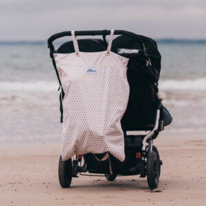 xl wetbag hanging on black pram